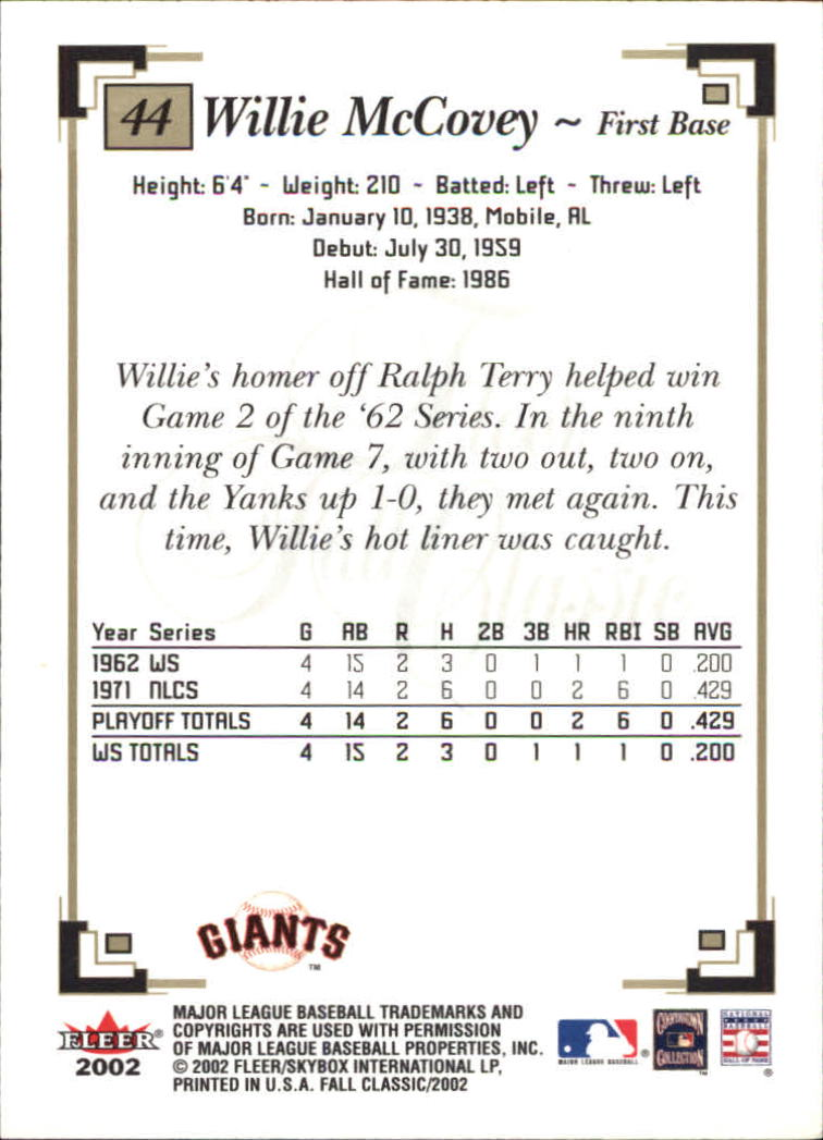 2002 Fleer Fall Classics #44 Willie McCovey back image