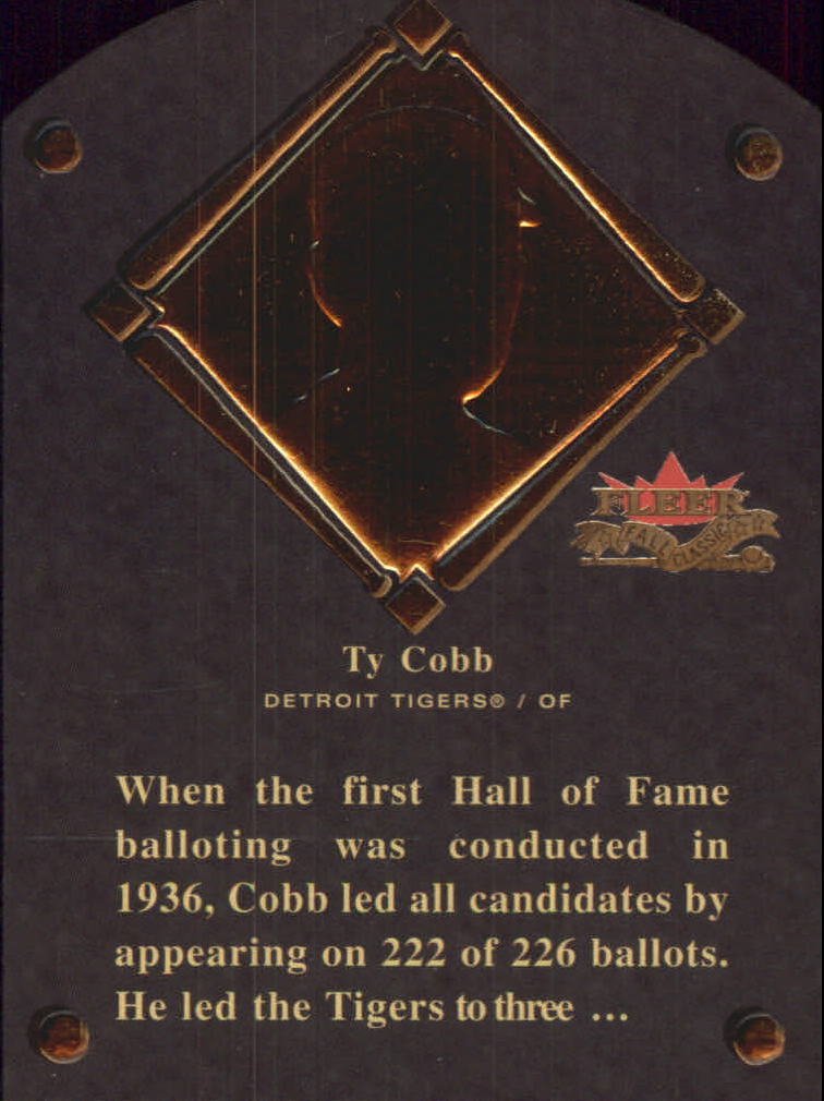 2002 Fleer Fall Classics HOF Plaque #4 Ty Cobb/1936