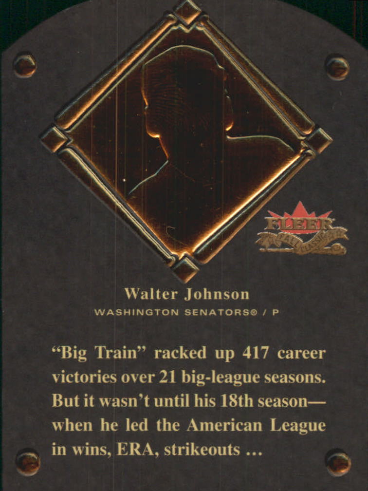 2002 Fleer Fall Classics HOF Plaque #5 Walter Johnson/1936