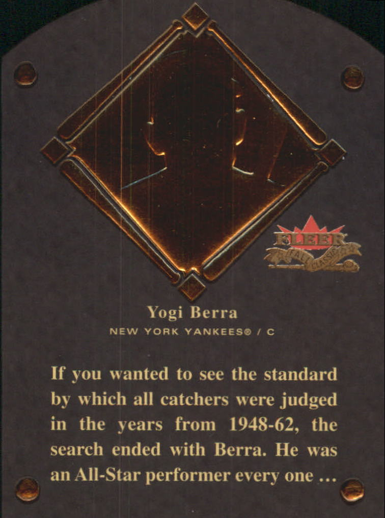 2002 Fleer Fall Classics HOF Plaque #13 Yogi Berra/1972