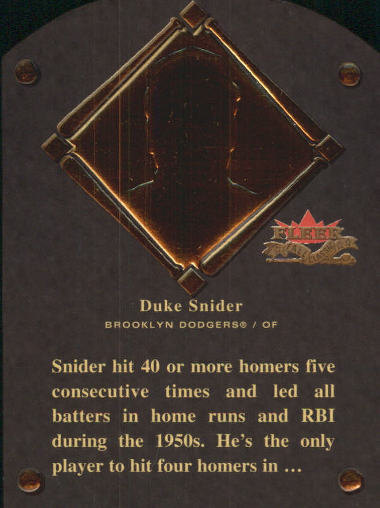 2002 Fleer Fall Classics HOF Plaque #14 Duke Snider/1980