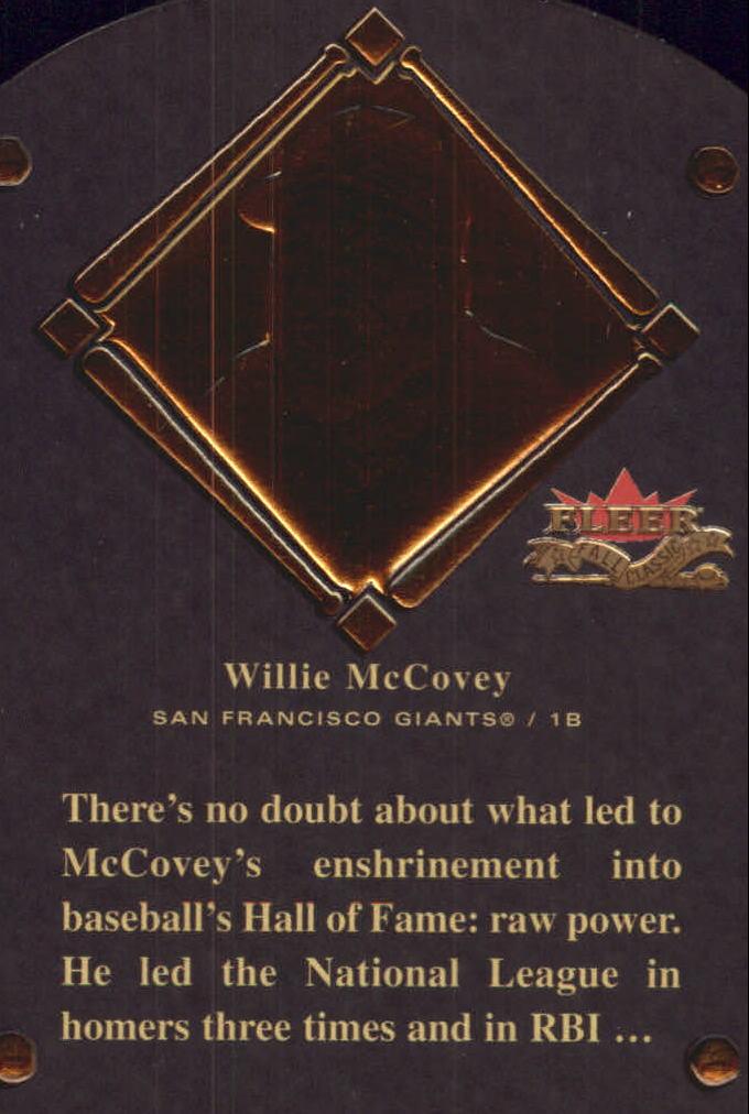 2002 Fleer Fall Classics HOF Plaque #18 Willie McCovey/1986