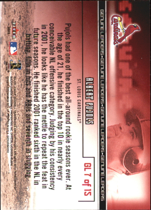 2002 Fleer Genuine Leaders #7 Albert Pujols back image