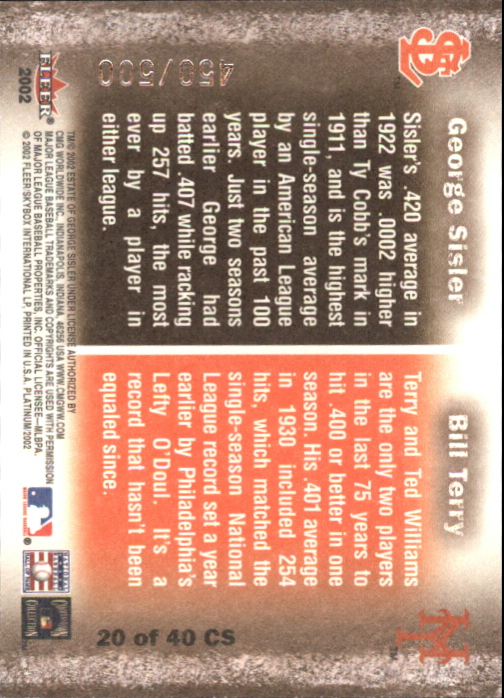 2002 Fleer Platinum Cornerstones Numbered #20 B.Terry/G.Sisler back image