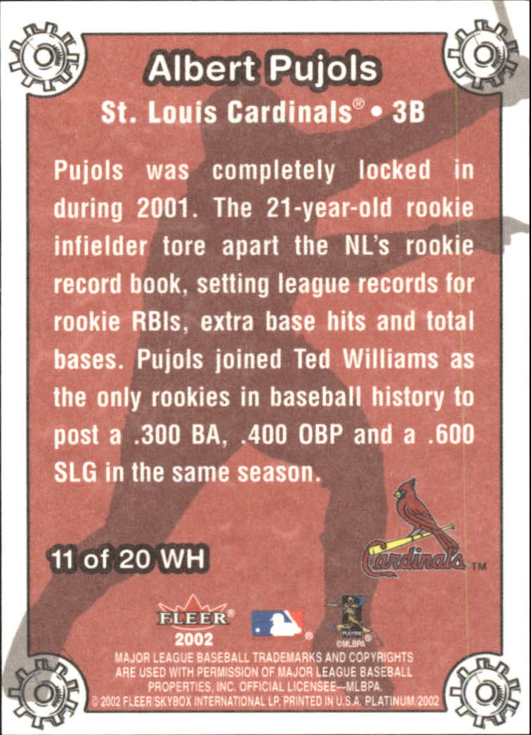 2002 Fleer Platinum Wheelhouse #11 Albert Pujols back image