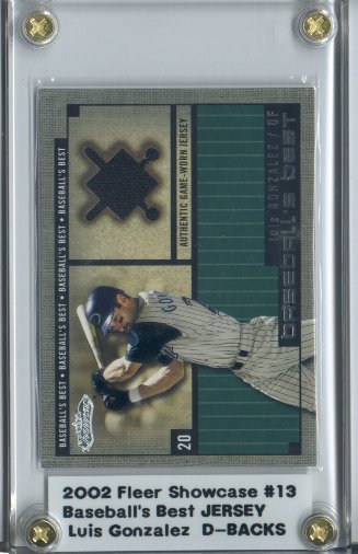 2002 Fleer Showcase Baseball's Best Memorabilia #13 Luis Gonzalez Jsy