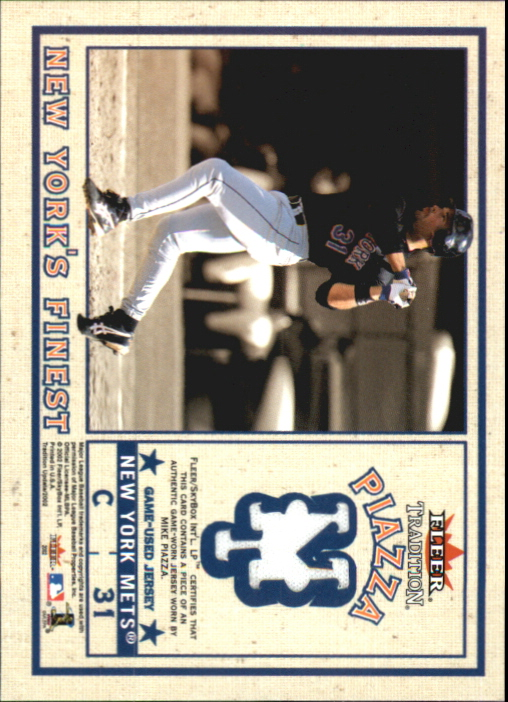 2002 Fleer Tradition Update New York's Finest Single Swatch #18 M.Piazza Jsy/Posada