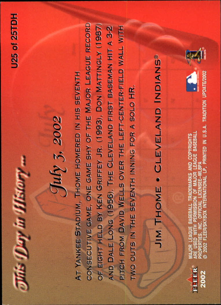 2002 Fleer Tradition Update This Day In History #U25 Jim Thome back image