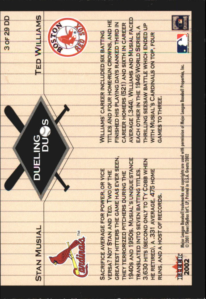 2002 Greats of the Game Dueling Duos #3 S.Musial/T.Williams back image