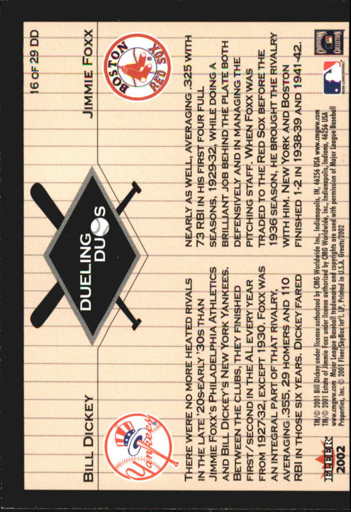 2002 Greats of the Game Dueling Duos #16 J.Foxx/B.Dickey back image