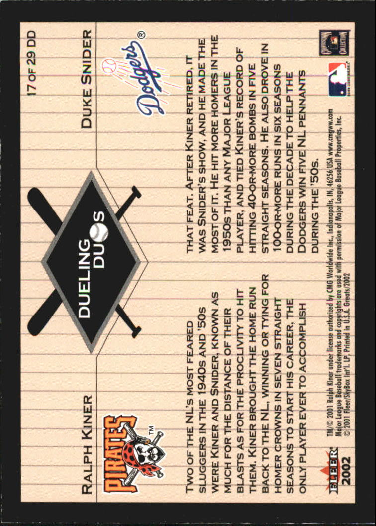 2002 Greats of the Game Dueling Duos #17 R.Kiner/D.Snider back image