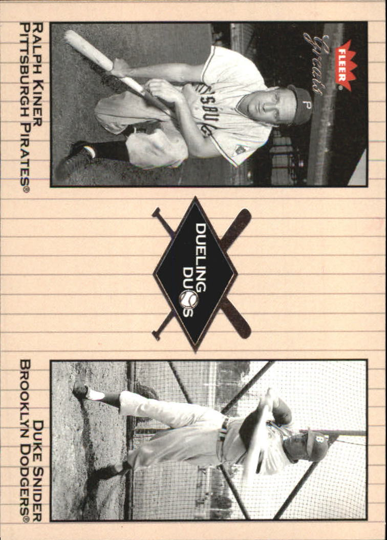 2002 Greats of the Game Dueling Duos #17 R.Kiner/D.Snider