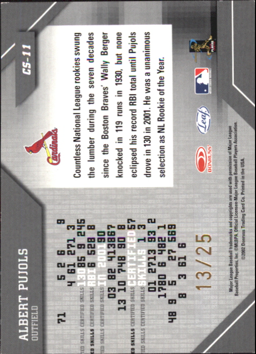 2002 Leaf Certified Skills Gold #11 Albert Pujols back image
