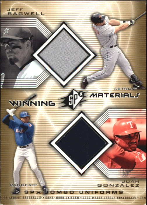 2002 SPx Winning Materials 2-Player Jersey Combos #WMBG Jeff Bagwell/Juan Gonzalez