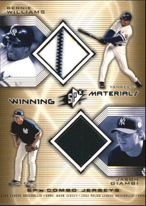 2002 SPx Winning Materials 2-Player Jersey Combos #WMWG Bernie Williams/Jason Giambi DP