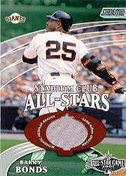 2002 Stadium Club All-Star Relics #SCASBB Barry Bonds Uni G6