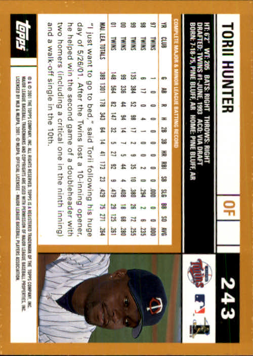 2002 Topps #243 Torii Hunter back image