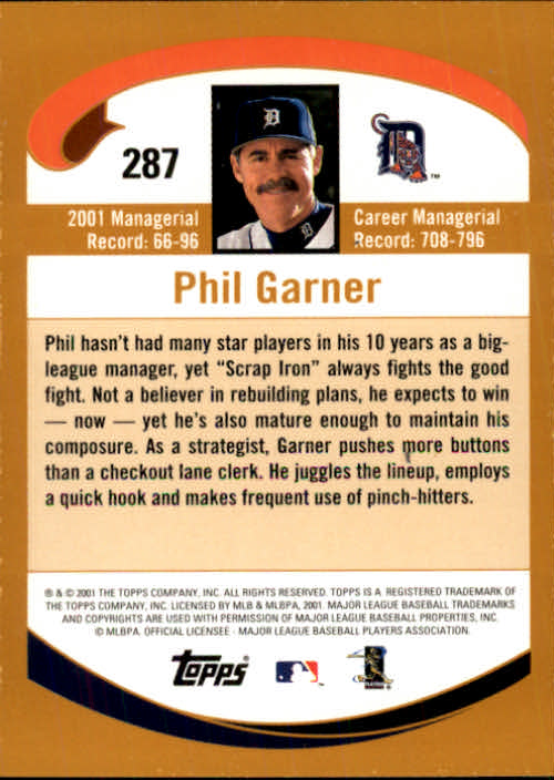 2002 Topps #287 Phil Garner MG back image