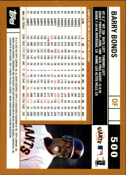2002 Topps #500 Barry Bonds back image