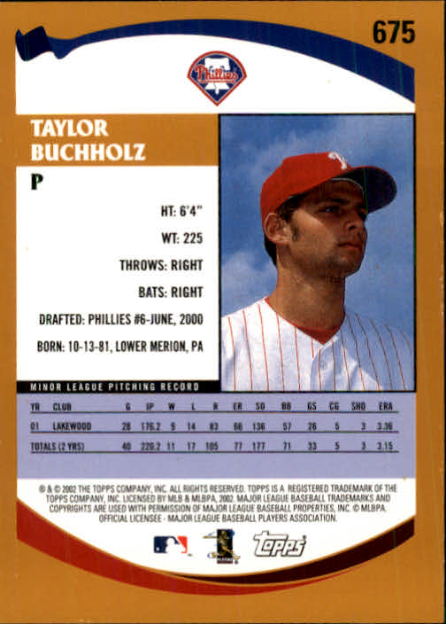 2002 Topps #675 Taylor Buchholz PROS RC back image