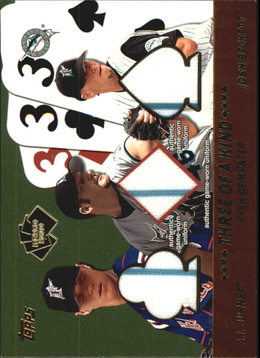 2002 Topps 5-Card Stud Three of a Kind Relics #5TBDB A.J. Burnett Uni/Ryan Dempster Uni/Josh Beckett Uni A