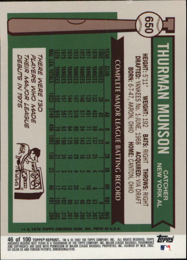 2002 Topps Archives Reserve #46 Thurman Munson 76 back image