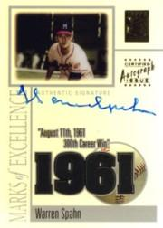 2002 Topps Tribute Marks of Excellence Autograph #WS Warren Spahn