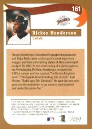2002 Topps Opening Day #161 Rickey Henderson HL back image