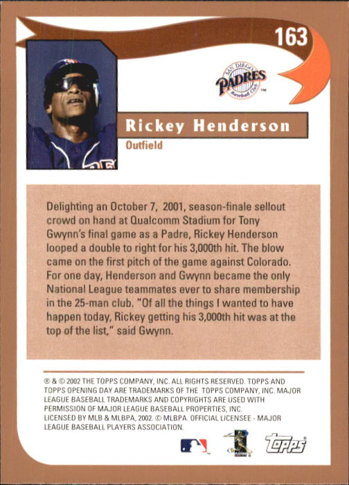 2002 Topps Opening Day #163 Rickey Henderson HL back image