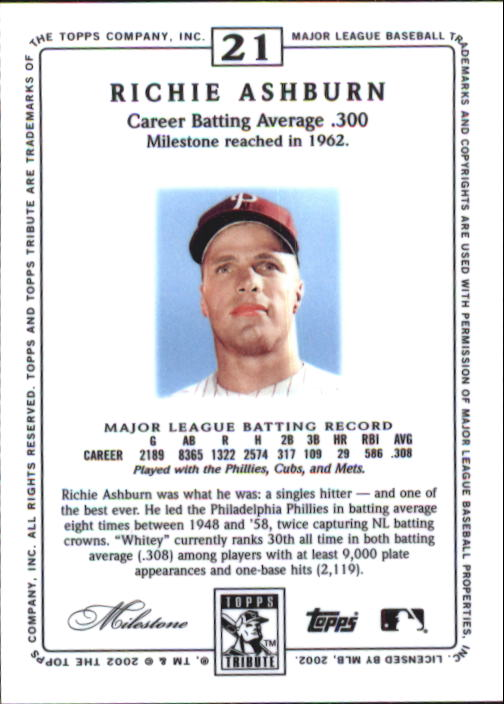 2002 Topps Tribute #21 Richie Ashburn back image