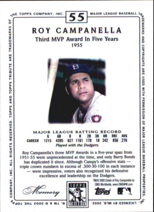 2002 Topps Tribute #55 Roy Campanella back image