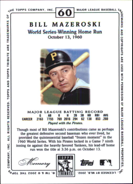 2002 Topps Tribute #60 Bill Mazeroski