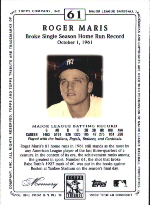 2002 Topps Tribute #61 Roger Maris back image
