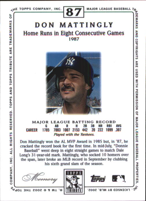 2002 Topps Tribute #87 Don Mattingly back image