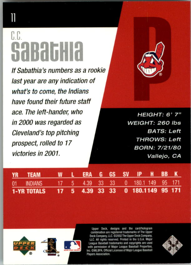 2002 Upper Deck Diamond Connection #11 C.C. Sabathia back image