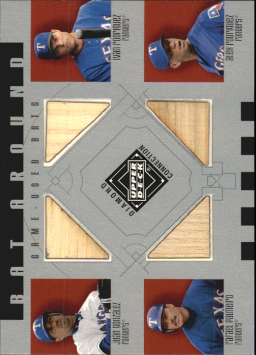 2002 Upper Deck Diamond Connection Bat Around Quads #GRPR J.Gonz/I.Rod/Raffy/A.Rod