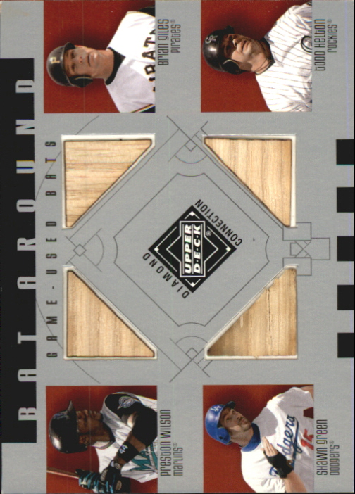 2002 Upper Deck Diamond Connection Bat Around Quads #WGGH Wilson/Giles/Green/Helt
