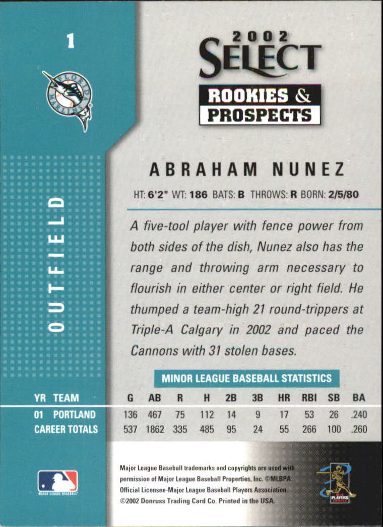 2002 Select Rookies and Prospects #1 Abraham Nunez