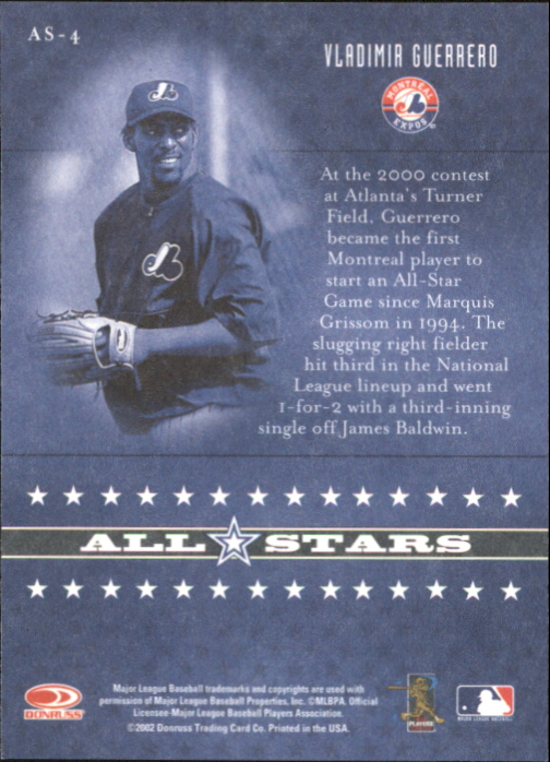 2002 Donruss Originals All-Stars #4 Vladimir Guerrero back image