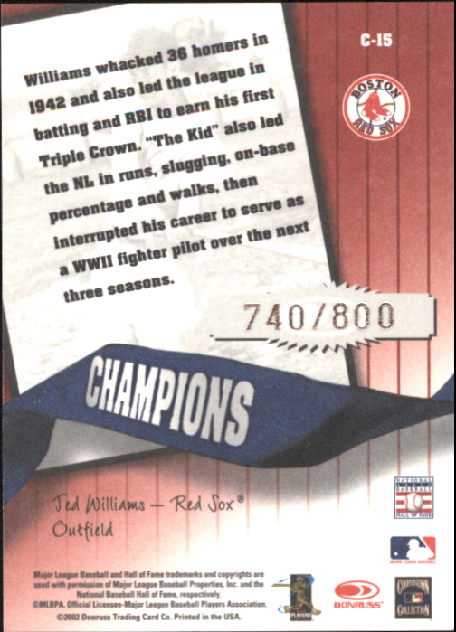 2002 Donruss Originals Champions #15 Ted Williams back image