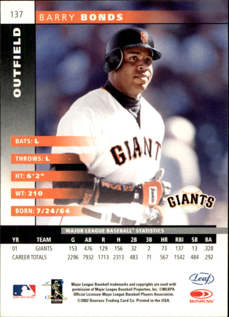 2002 Leaf #137 Barry Bonds back image