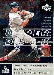 2002 Upper Deck 40-Man Mark McGwire Autograph Buybacks #38 Mark McGwire 00 LGD 20C/5