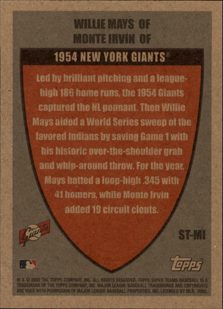 2002 Topps Super Teams Teammates #STMI Willie Mays/Monte Irvin back image