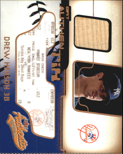 2002 Fleer Authentix Bat AuthenTIX #BADH Drew Henson