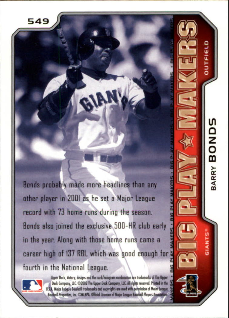 2002 Upper Deck Victory #549 Barry Bonds BPM back image