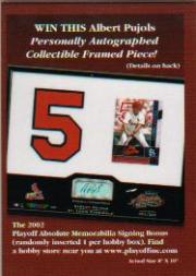 2002 Absolute Memorabilia Signing Bonus Entry Cards #19 Albert Pujols