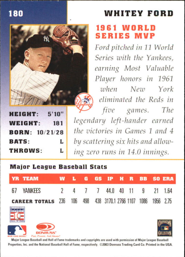 2003 Donruss Champions #180 Whitey Ford back image
