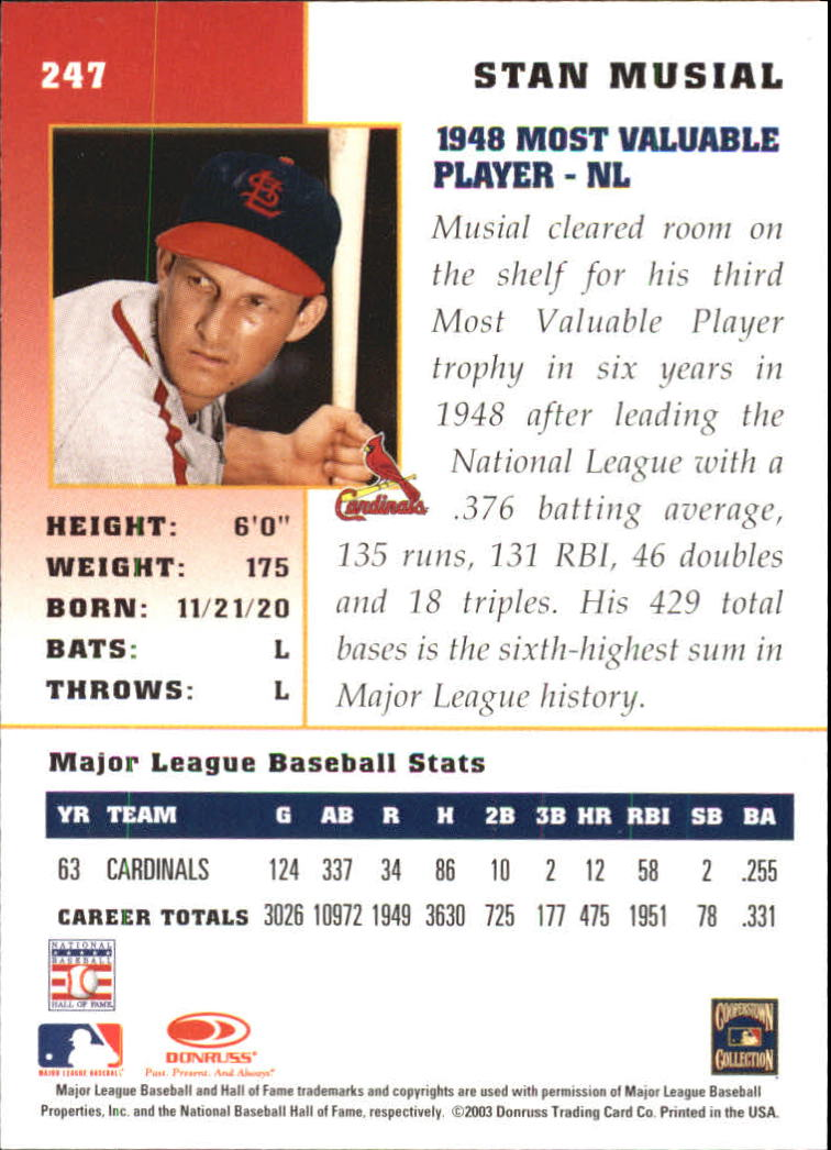 2003 Donruss Champions #247 Stan Musial back image