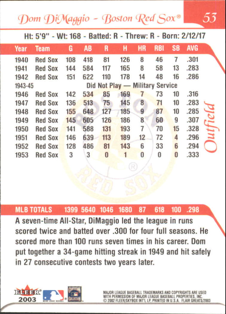 2003 Flair Greats #53 Dom DiMaggio back image