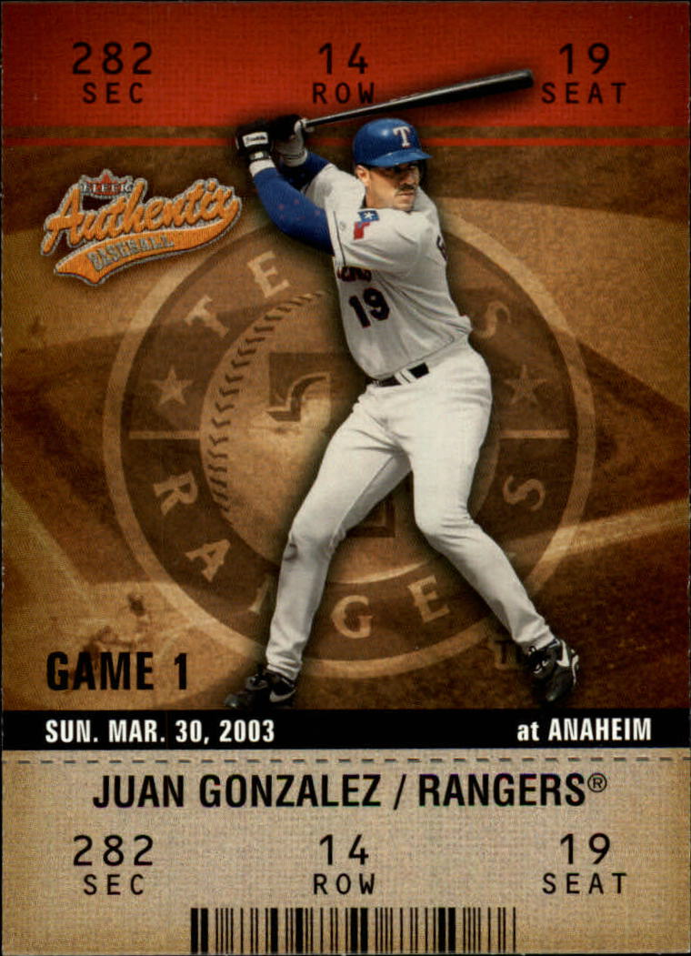 2003 Fleer Authentix #7 Juan Gonzalez